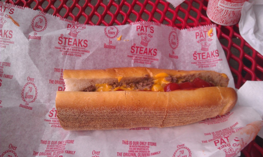 A cheesesteak at Pat's in South Philly