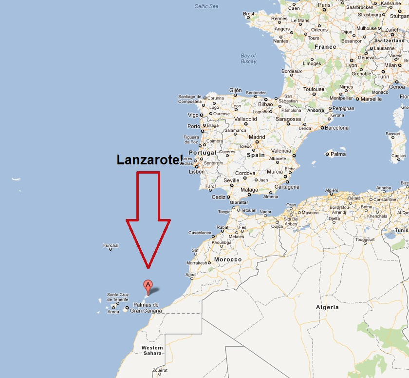 A Map of where Lanzarote