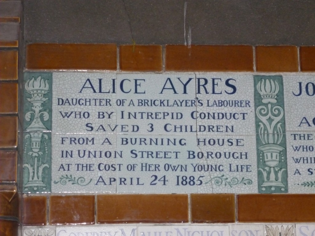 Plaque at Postman's Park in London, UK