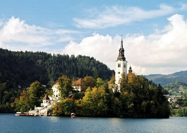 a view of the church on Lake Bled