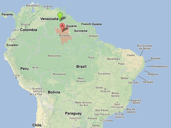 Map Of Northern Brazil and Southern Guayana