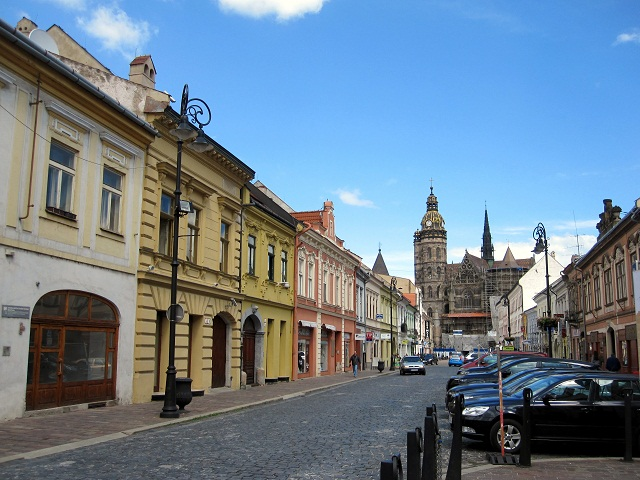 cathedral in Kosice and city streets