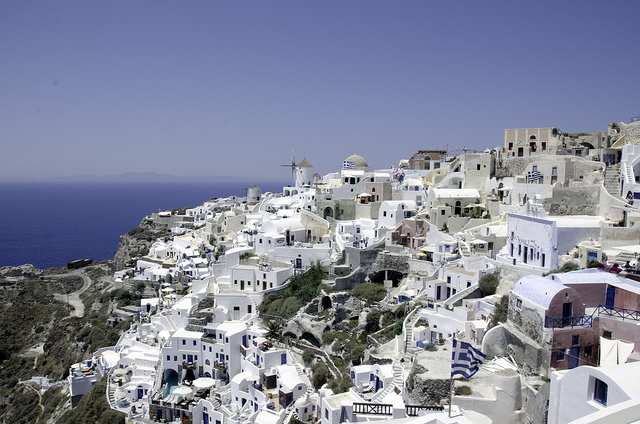 Santorini with ocean in the background