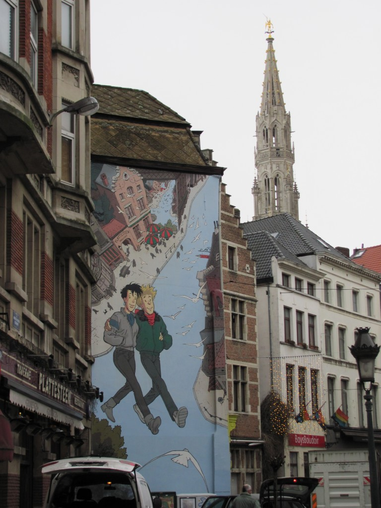 weird mural in Brussels, Belgium