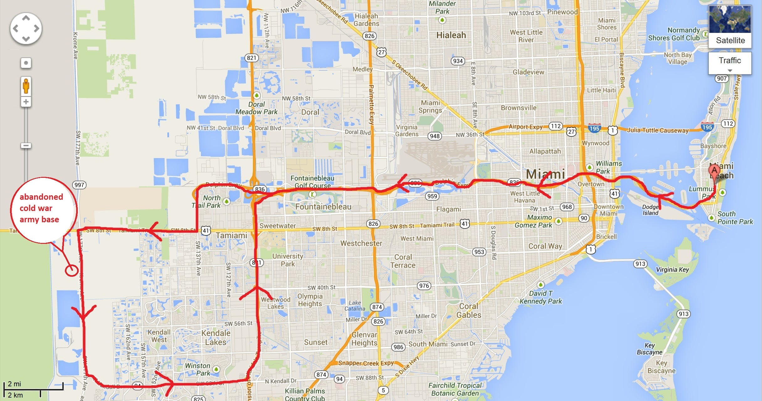 motorcycle route in Miami