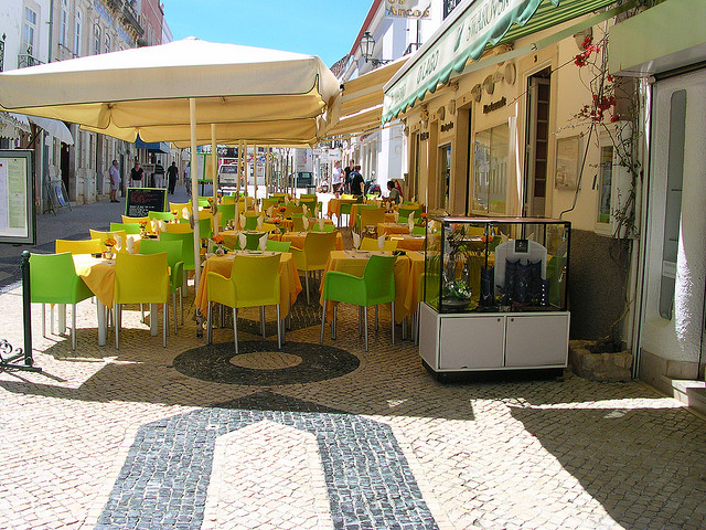 outdoor seating at a cafe