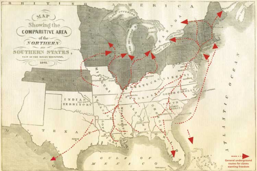 Map of african american movements post slavery