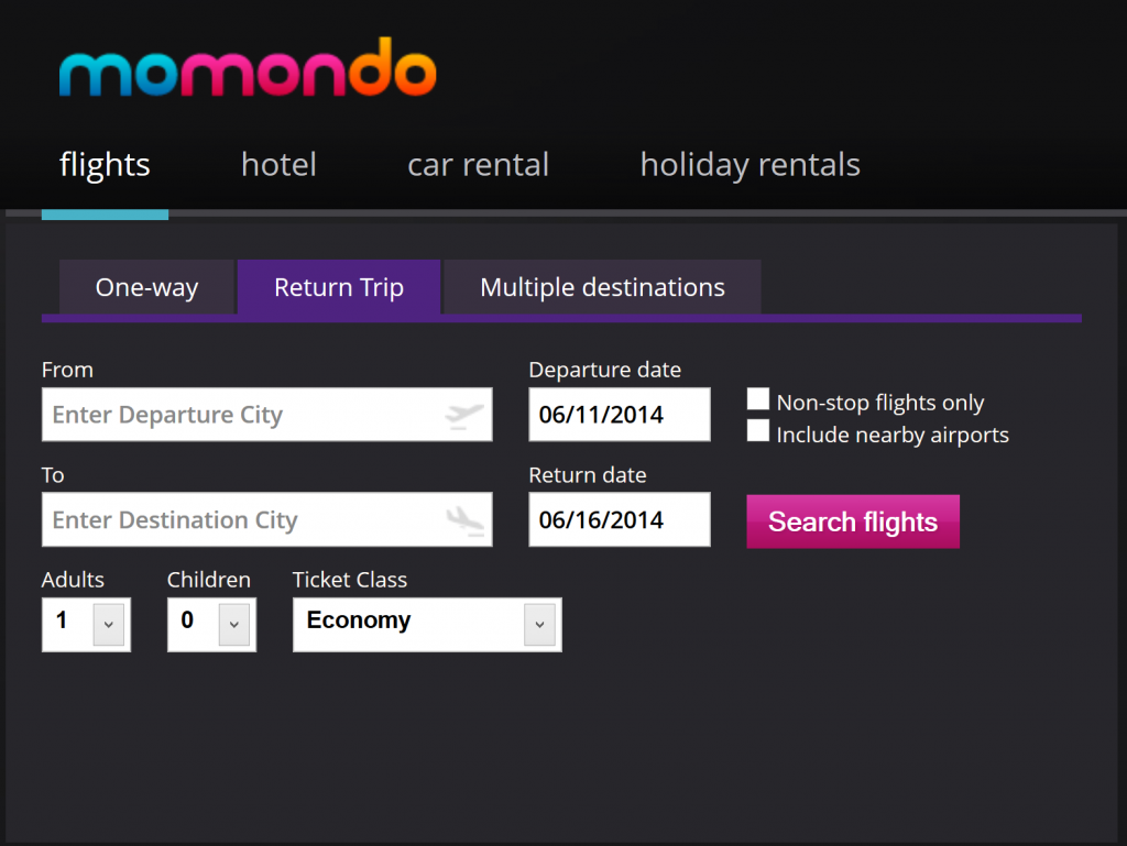 Momondo flight comparison tool