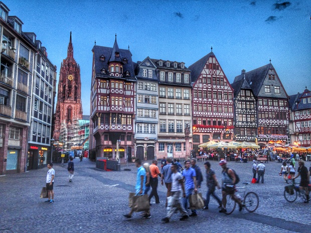 Main square in Frankfurt at Sunset