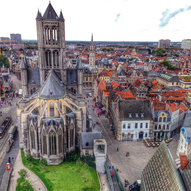 cathedral view from the belfry in Ghent