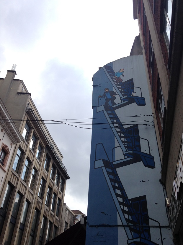 comic mural in brussels with fire escape