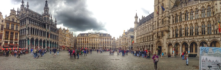 panoramic of main square in Brussels, Belgium