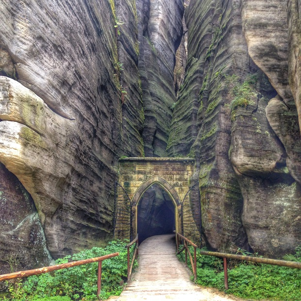 gothic gate Adrspach and Teplice Rocks, Czech Republic