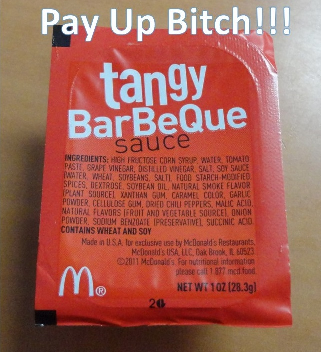 pay for sauce at McDonald's