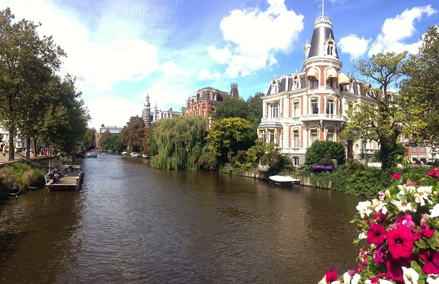victorian mansions on canal in Amsterdam