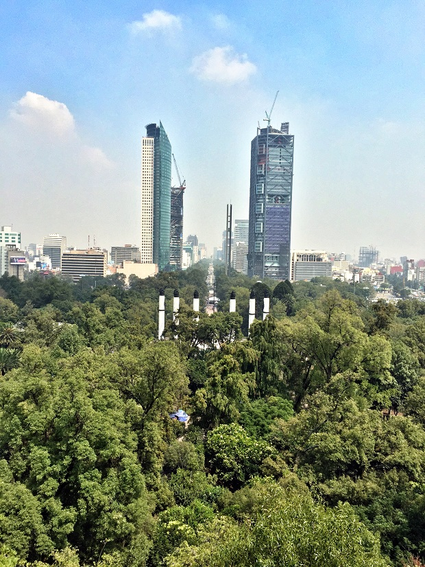 view of avenida la reforma from chapultapec castle in mexico city