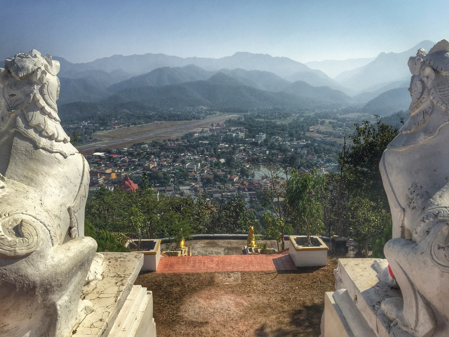 panoramic view of mae hong son from temple above town