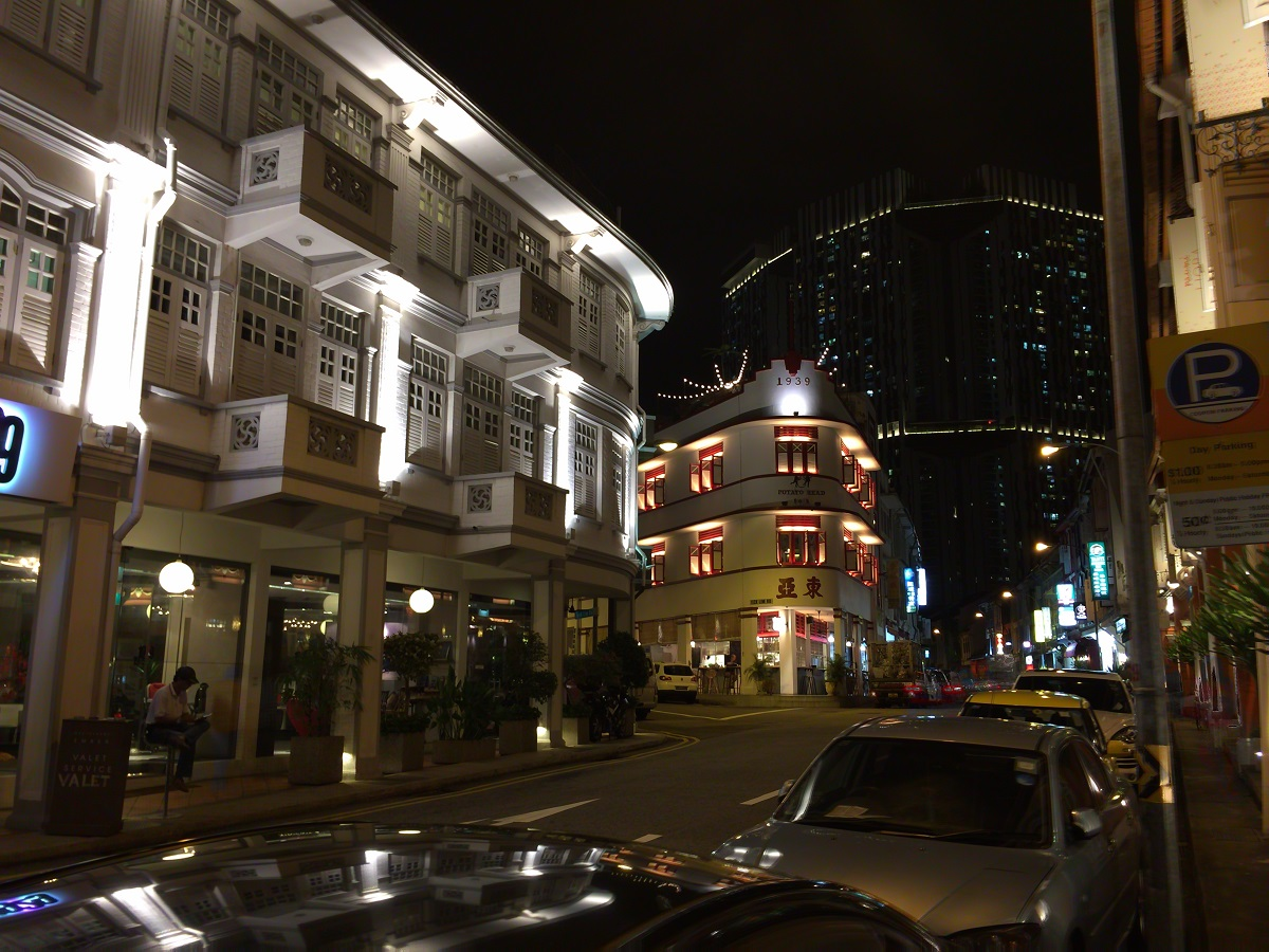 china town at night in Singapore