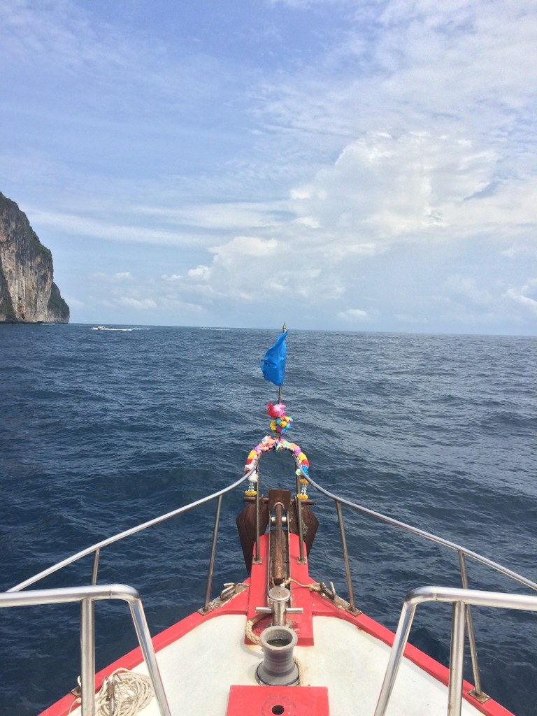 bow of scuba boat in krabi, thailand