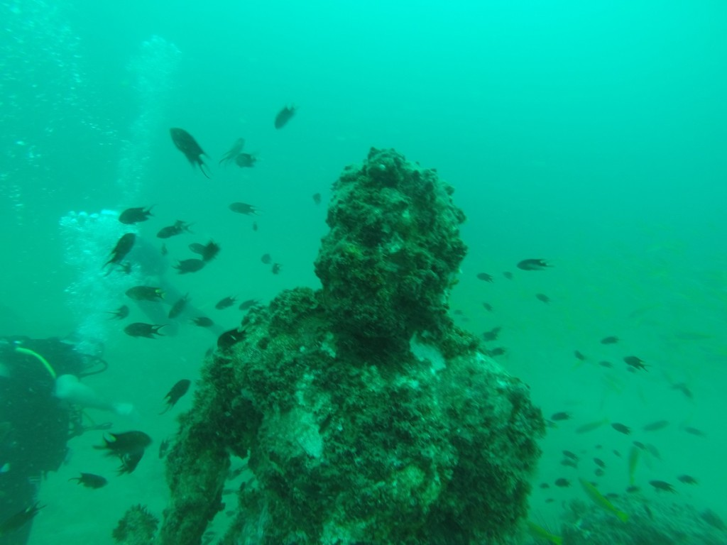 statue under the water in thailand
