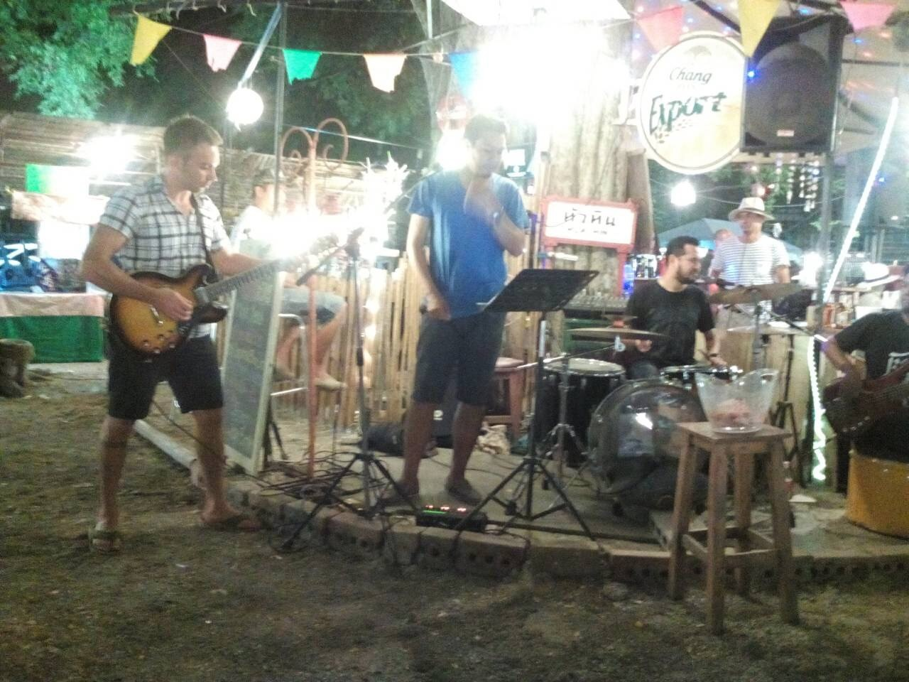 Jeremy rocking out at the Cicada Market in Hua Hin, Thailand
