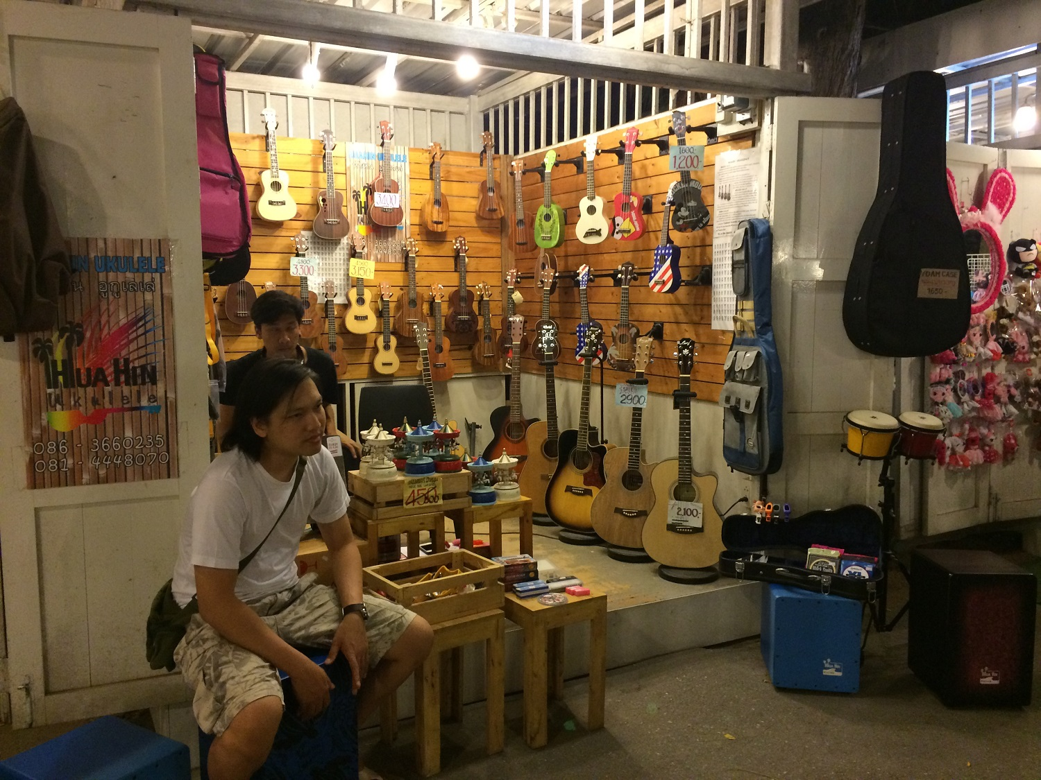 guitar stall at Cicada Market in Hua Hin, Thailand