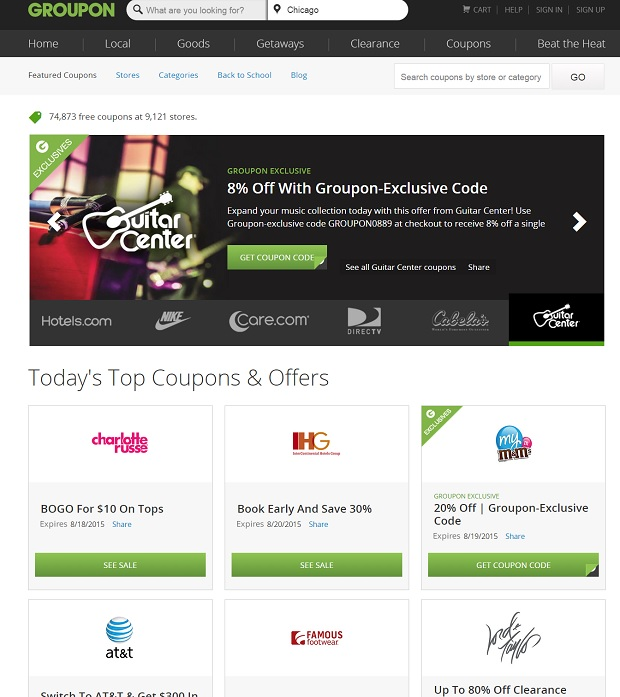 Groupon Coupons fpr travel