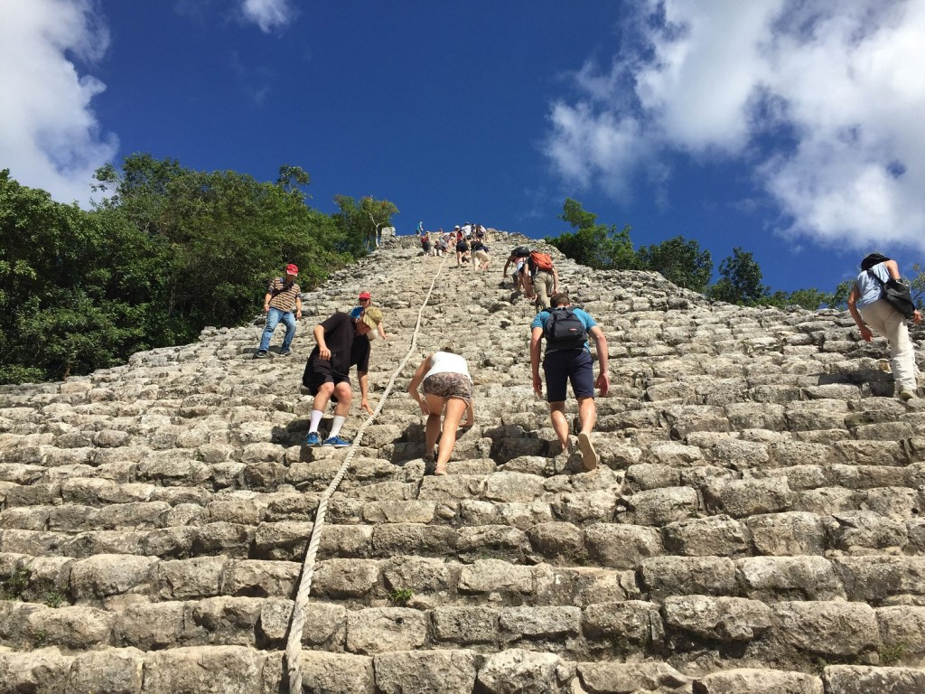 Climbing Coba on my motorcycle road trip in Mexico