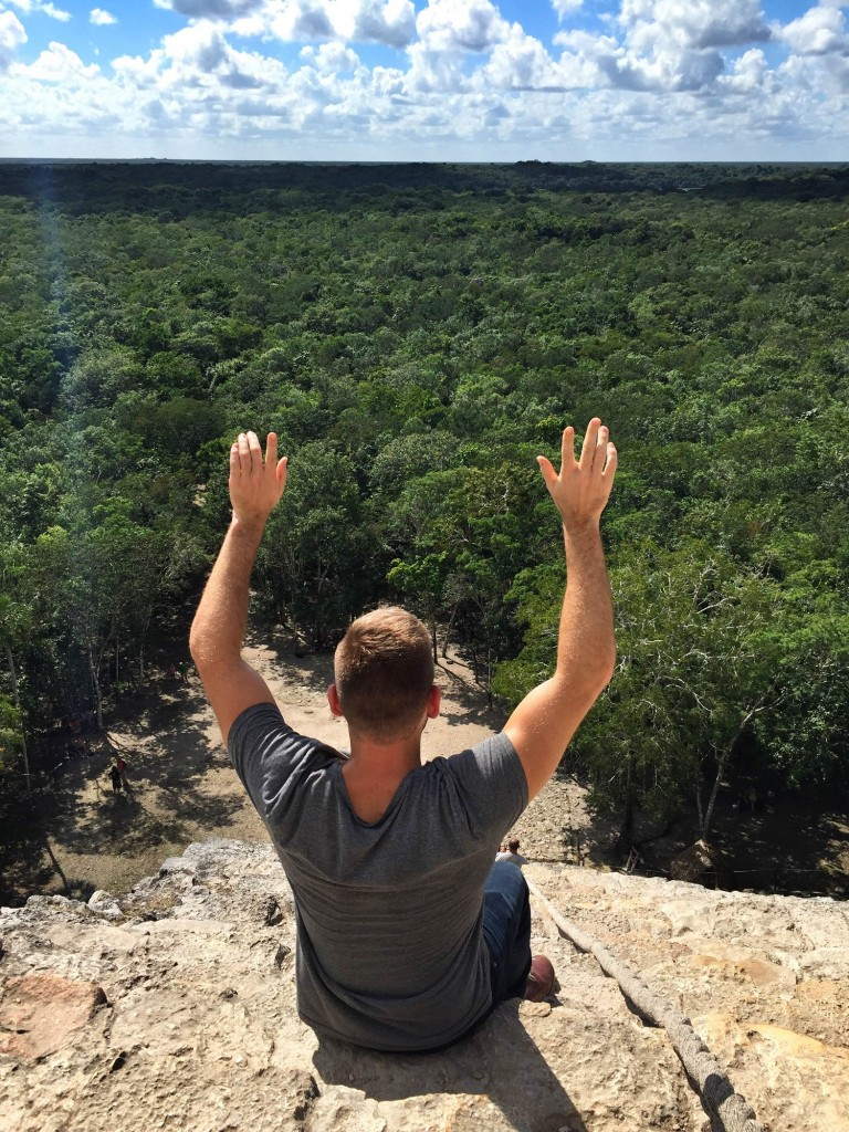 on top of the ruins of Coba in the Yucatan, Mexico