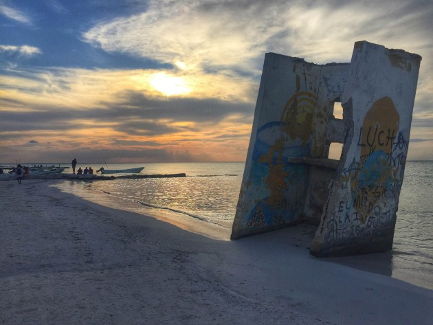 sunset bar in Holbox, Mexico