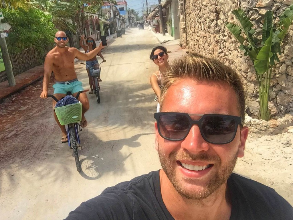 renting a bike in Holbox, Mexico