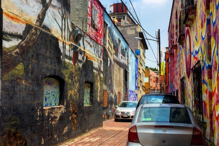 Alley completely covered in Street art in Mexico City, Roma Norte