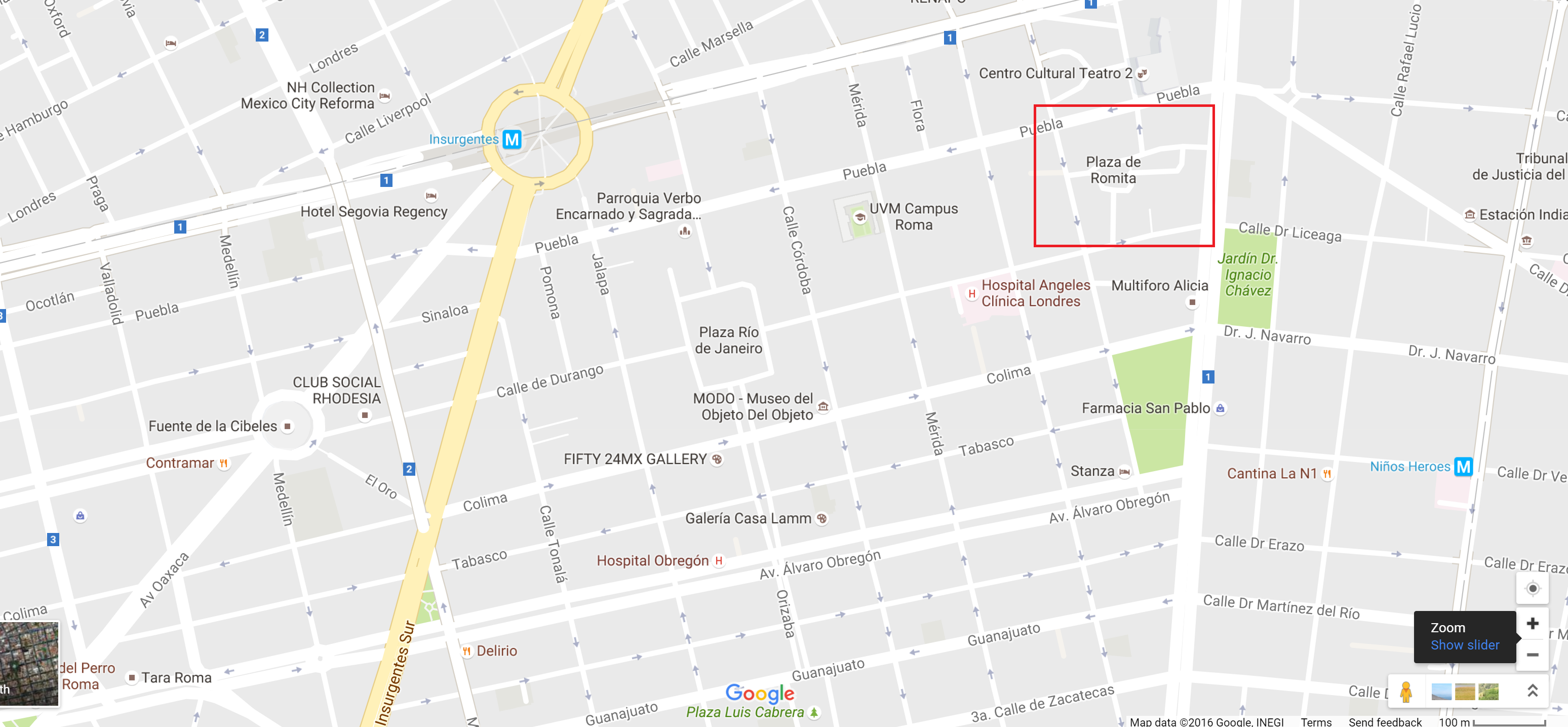 map of roma norte, mexico city