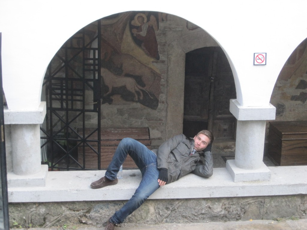 Sitting outside Dragalevtsi Monastery