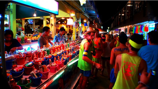 Drinks in Buckets at Full Moon Party