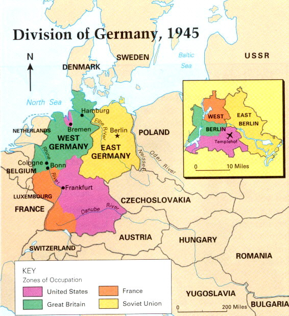 East and West Germany Map post WWII