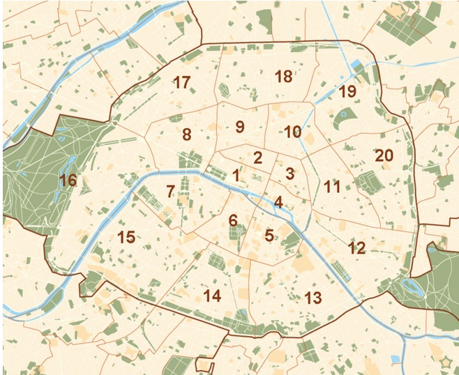 map of the districts of Paris