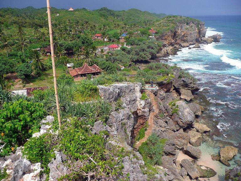 Beach and cliffs in Yogyakarta