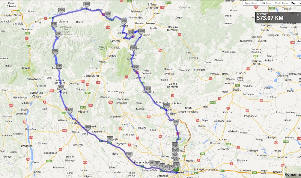 motorbike route for Romania
