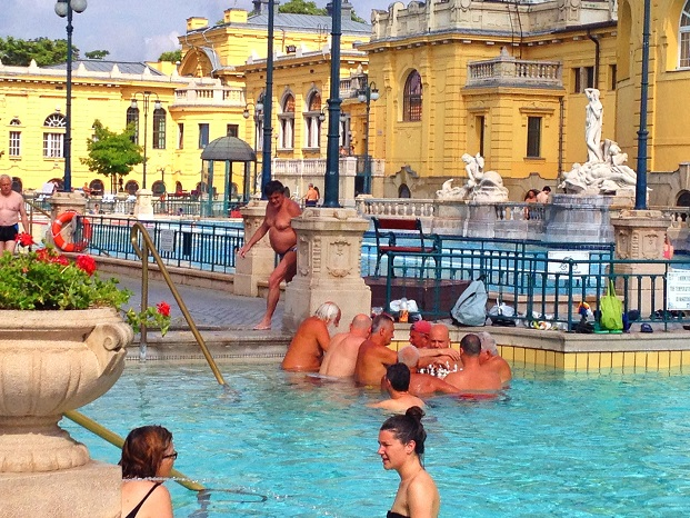 Guys playing chess at szechenyi bath house