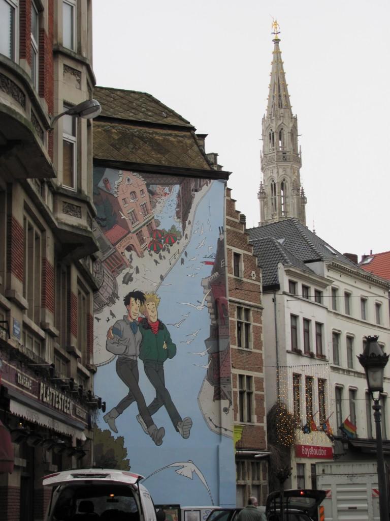 weird mural in Brussels, Belgium