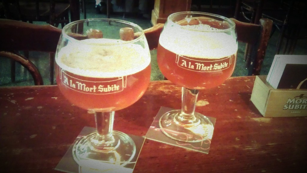 The unique sour Gueuze beer, served at room temperature at A La Morte Subite, a famous café preserved in its early 20th century decoration
