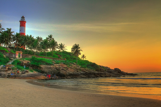 sunset over beach in Kerala, India