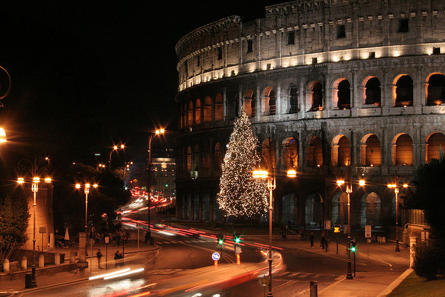 chistmas tree in front of the coloseum in Rome