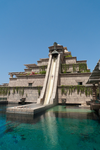 Leap of Faith Water Slide, at the Atlantis Resort in the Bahamas (they also have the same slide at their other location in Dubai, UAE)