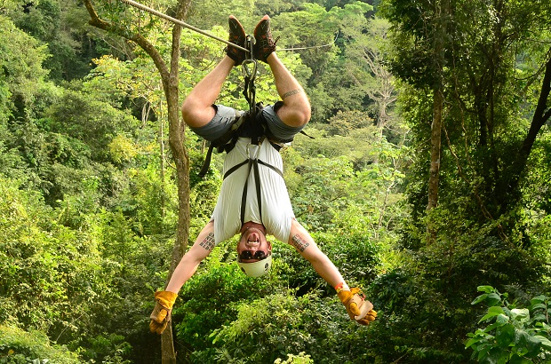 upside down zip line, costa rica, jaco