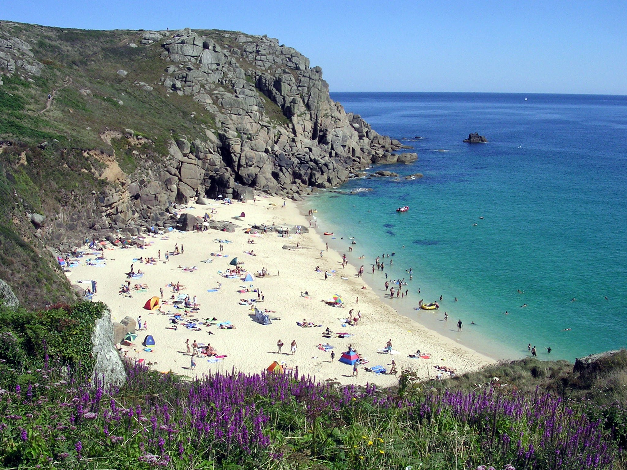 The best UK beach breaks, like this one in Cornwall, offer stunning visages that rival the Mediterranean ... if only the weather were so kind!