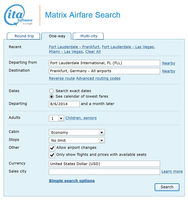 ITA Matrix Airfare Search