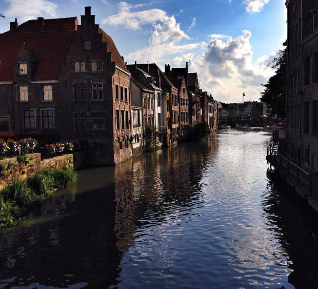 beautiful canal scene in Ghent