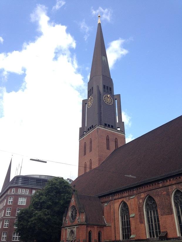 church in Hamburg with modern spire